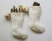 PRE-ORDER || White Mudcloth Christmas Stockings with Pom Poms | Bohemian Christmas Décor | Boho Stocking Mud Cloth