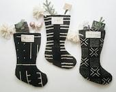 Black Mudcloth Christmas Stockings with Pom Poms | Black and White Modern Farmhouse Christmas Décor | Neutral Stocking Mud Cloth