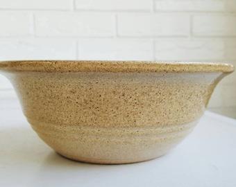 Vintage Mustard Speckled Ceramic Glazed Bowl - Rustic Pottery - Modern Farmhouse Fall Decor