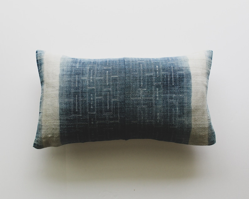 Faded Indigo Batik Pillow Cover  Vintage Hmong Pillow  image 0
