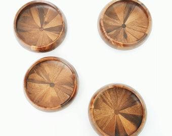 Set of 4 Wooden Salad Bowls - Vintage Wood Bowls Mid Century Danish Modern Minimalist Farmhouse