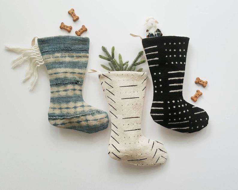 Mini Mudcloth Christmas Stocking  Indigo Pet Stocking  Boho image 0