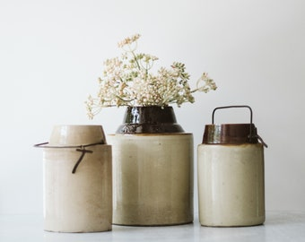 Assorted Small Vintage Dipped Stoneware Crock Jars  | Modern Farmhouse Decor | Old Brown Crock