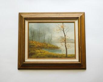 Vintage Framed Oil Painting of an Autumn Mountain Scene | Traditional Fine Art Painting on Canvas | Modern Farmhouse Fall Decor