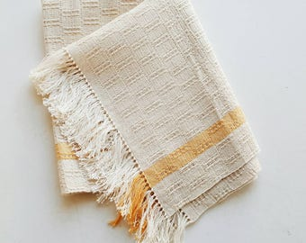 Vintage Woven Table Scarf with Yellow Stripes - Modern Farmhouse Table Runner Small