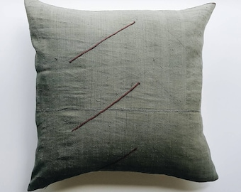 Olive Green Minimalist Pillow Cover - Stripe Modern Minimal Accent Pillow - Vintage Hmong Pillow