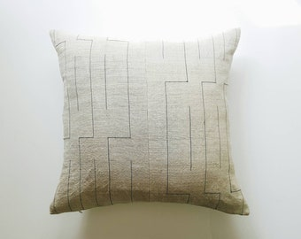 Neutral Modern Hmong Pillow Cover - Minimalist Home Decor -  Natural and Black Throw Pillow