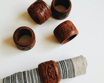 Set of 5 Carved Wood Napkin Rings - Wooden Bohemian Table Top Decor