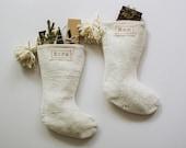 White Mudcloth Christmas Stockings with Pom Poms   Bohemian Christmas Décor   Boho Stocking Mud Cloth