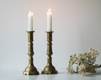 Pair of Vintage Brass Candle Sticks | Brass Candle Holders | Modern Farmhouse Wedding Decor