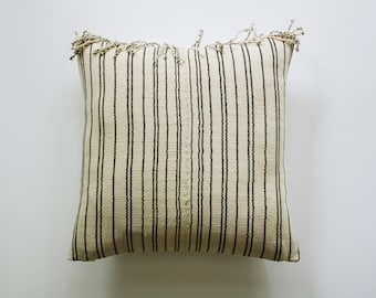 AILBHE || Cream and Gray Striped Hmong Pillow Cover with Fringe | Boho Throw Pillows | Modern Bohemian Pillows