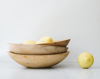 Assorted Antique Wooden Munising Dough Bowls | Modern Farmhouse Kitchen Decor | Amish Wood Mixing Bowl | Wabi Sabi