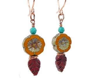 Czech Glass Earrings, Czech Flower Copper Earrings, Czech Dangle Earrings, Blossom Earrings, Gift for Gardener