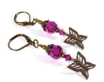 Antique Brass Butterfly Earrings, Swarovski Crystal Fuchsia Butterfly Earrings, Butterfly Dangle Earrings Butterfly Jewelry