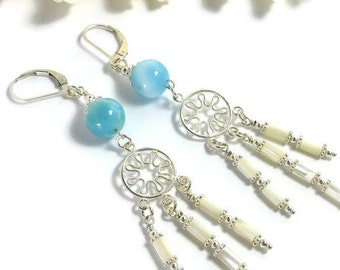 Larimar Earrings Sterling Silver, Larimar Chandelier Earrings, Larimar Earrings Dangle, Blue Stone Earrings, Atlantis Stone,