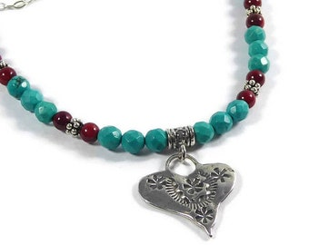 Sterling Silver Turquoise Heart Necklace, Southwestern Pendant Heart Necklace, Turquoise Coral Necklace, Turquoise Pendant Necklace