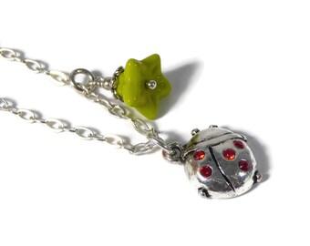 LIttle Girls Ladybug Necklace, Sterling Silver Chain, Childrens Jewelry, Girls Charm Necklace, Ladybug, Czech Glass