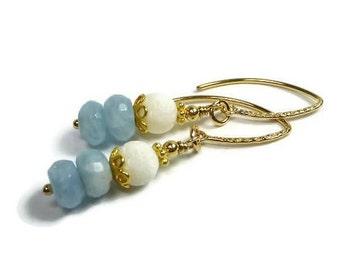 Aquamarine Earrings, White Coral Beach Tropical Dangle Earrings, Gold Filled, Blue GemStone, March Birthstone