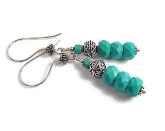 Turquoise Earrings, Turquoise Dangle Earrings, Bohemian Earrings, Genuine Turquoise, December Birthstone, Bali Silver