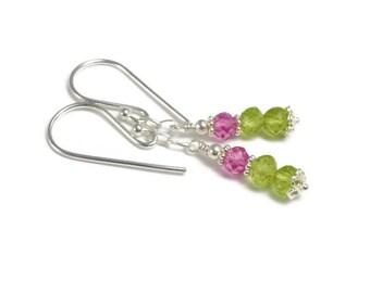Peridot and Pink Topaz Earrings, Sterling Silver, Pink Green Dainty Dangle Earrings,  August Birthstone, Semi Precious Gemstone
