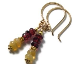 Ethiopian Opal Earrings, Opal and Garnet Earrings, Welo Opal Earrings, Gold Filled,  Ethiopian Opal, Garnet Gemstone Earrings, Opal Fire