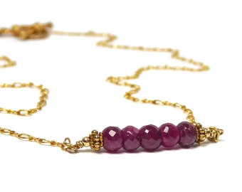 Ruby Necklace, Gold Filled,  Ruby Jewelry, Birthstone Jewelry