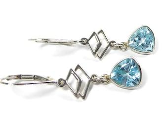 Blue Topaz Earrings, Sterling Silver, Geometric, Faceted Gemstone, Blue GemStone, Geometric Earrings, Dangle Earrings