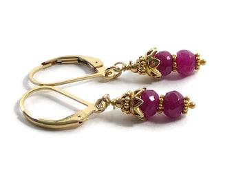 Dainty Red Ruby Earrings,  Red Gemstone Earrings, Short Drop Earrings, Gemstone Jewelry, Beaded Earrings