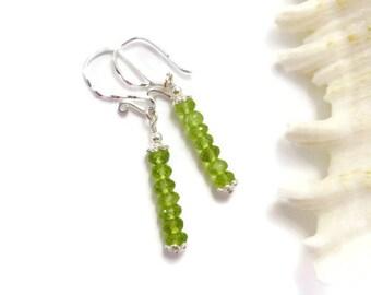 Micro-Faceted Peridot Earrings, Sterling Silver, Boho Chic Dangle, Semi Precious Green GemStone Earrings, August Birthstone,