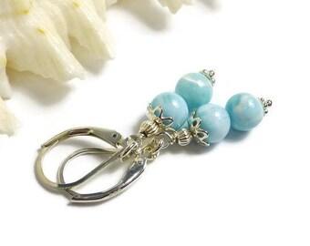 Genuine Larimar Earrings, Sterling Silver, Atlantis Stone, Light Blue Stone Earrings, Dolphin Stone, Blue Pectolite, Beachy Earrings
