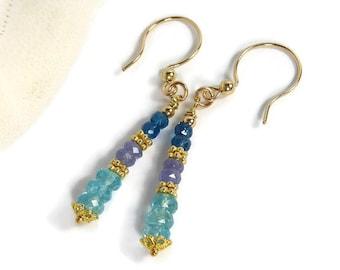 Apatite and Tanzanite Earrings, Gold Filled Beaded Long Earrings Dangle Earrings Semiprecious Gemstone,  Blue Stone