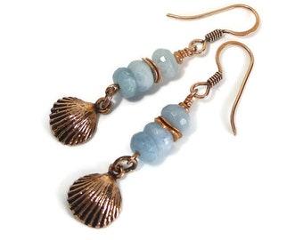Aquamarine Earrings, Blue Stone, Beachy, Copper Earrings, Ocean Life, Seashell Earrings