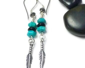 Sterling Silver Feather Earrings, Turquoise Earrings Dangle, Sterling Silver Turquoise Earrings, Turquoise Earrings Boho, Birthstone
