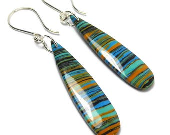Rainbow Calsilica Earrings, Calsilica Dangle Earrings, Rainbow Earrings, Long Dangle Earrings
