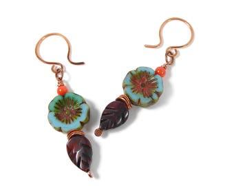 Turquoise Blue Flower Czech Glass Earrings, Czech Bohemian Earrings, Copper Czech Dangle Earrings, Blossom Earrings, Gift for Gardener
