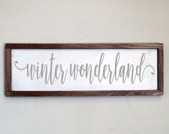 Holiday Wood Sign, Winter Wonderland Wood Framed Sign, Christmas Decor, Holiday Decor, Farmhouse Style, Farmhouse, Wood Wall Art, Rustic Art