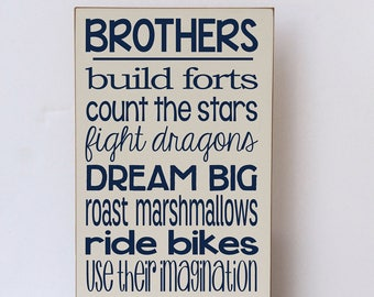 Brothers Wall Art, Brothers Build Forts, Brother Room Decor, Brothers Decor, Boy Room, Baby Boy Nursery, Farmhouse Style, Wood Sign