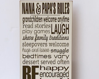 Nana and Papa  Rules  Wood Sign, Gifts for Grandparents, Nana and Papa Sign, Nana and Papa Gift, Grandparent Rules, Rules of Nana and Papa