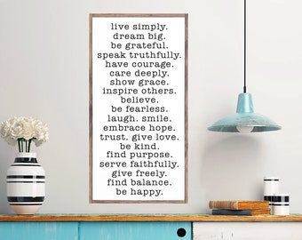 Live Simply Large Wall Sign, Inspirational Plaque, Wood Wall Art, Modern Farmhouse, Rustic Home Decor, Inspiration Wooden Wall Art