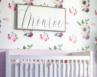 Farmhouse Nursery Wood Sign, Custom Name Wall Letters for Nursery, Personalized Baby Name Plaque, Wooden Name Sign, Kids Room Decor