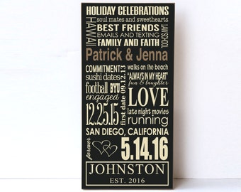 Custom Name Wood Sign for Wedding, Anniversary Gift, Wedding Gift, Bridal Shower Gift, Engagement Gift, Wooden Sign