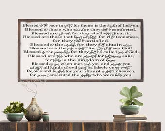 Scripture Wood Sign, The Beatitudes, Matthew 5, Farmhouse Wood Sign, Modern Farmhouse, Rustic Wood Sign, Family Room Art, Blessed Are Sign