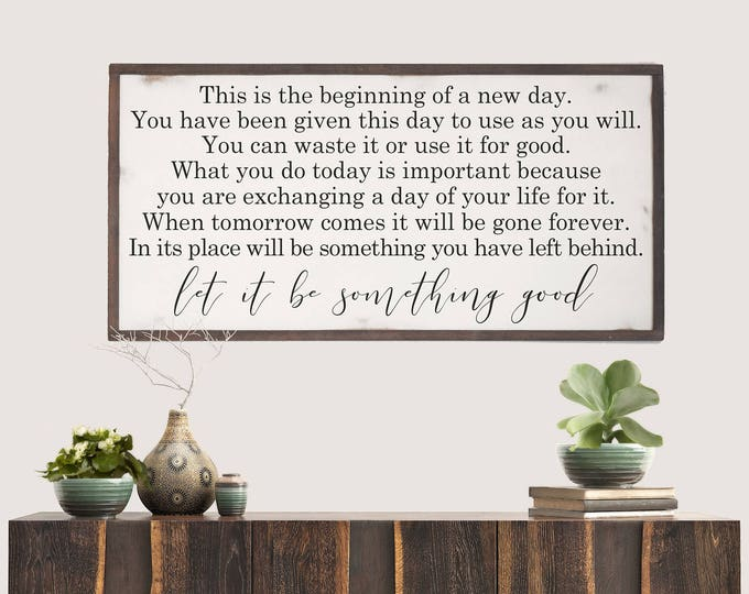 Featured listing image: Beginning of New Day Wood Sign, Inspirational Wood Decor, Inspired Wall Art, Entryway Wall Hanging, Farmhouse Sign, Christmas Gift