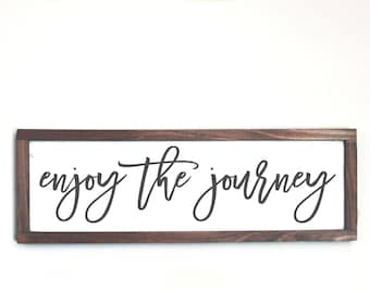 Enjoy the Journey Wood Sign, Farmhouse Rustic Sign, Farmhouse Decor, Wood Frame Sign, Inspirational Wood Sign, Cottage Decor, Wall Art