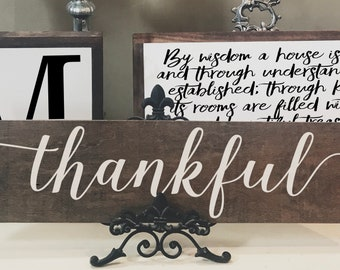 Thankful Wood Sign, Stained Wood Sign, Thanksgiving, Harvest, Fall Wood Sign, Fall Decor, Thanksgiving Decor, Holiday Wood Sign, Autumn Sign