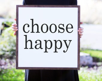 Choose Happy Framed Wood Sign, Country Cottage Wood Sign, Living Room Wall Art, Modern Farmhouse Sign, Hand Lettered Sign