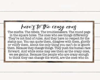 Wall Art Sayings, Here's To The Crazy Ones, Inspired Quote Wood Sign, Modern Farmhouse Decor, Misfits and Rebels Quote, Wood Artwork