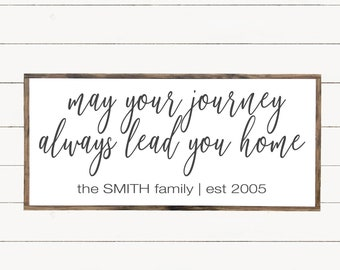Always Lead You Home Wood Sign, Last Name Wooden Sign,  Inspired Wall Art, Entryway Wall, Farmhouse Sign, Christmas Gift, Family Established