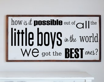 Best Little Boys Farmhouse Rustic Wood Sign, Kids Room Wall Art, Nursery Wall Plaque, Gift for Baby Boy, Wall Sign with Quotes
