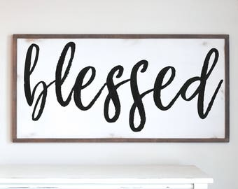 Blessed Wood Sign, SM/MED SIZES, Be Strong, Modern Farmhouse, Farmhouse Decor, Distressed Frame, Wooden Sign, Wood Sign, Farmhouse Style